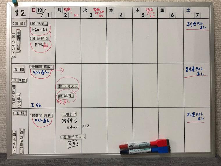 スケジュール用ホワイトボードのサンプル