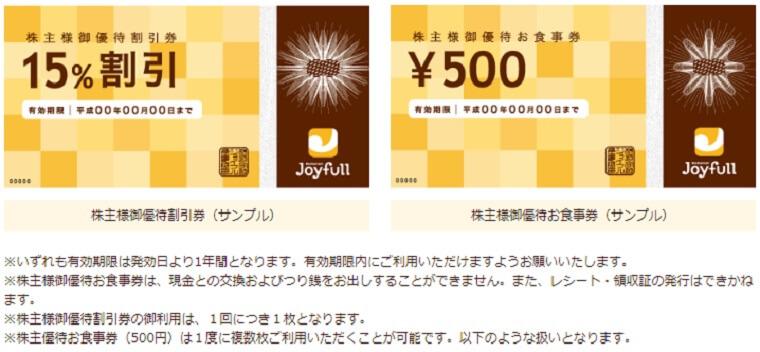ジョイフル株主優待券