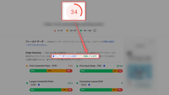 PageSpeedInsightsの数値が悪くても合格