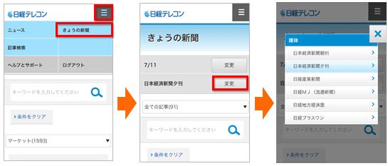 日経テレコンの表示媒体変更方法